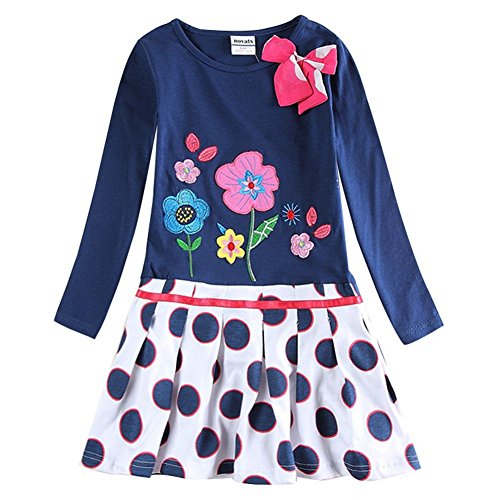 Novatx Long Sleeve Soft Baby Girl Dress H5081 Navy (5/6y) (Made In China Wholesale compare prices)