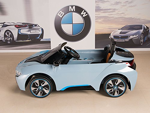 bmw i8 12v kids ride on battery powered wheels car rc remote blue
