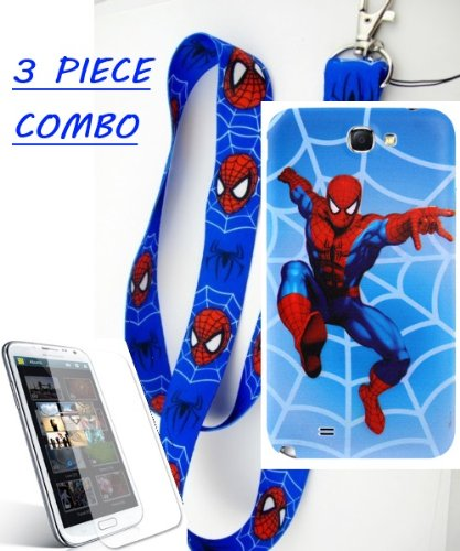 Samsung Galaxy Note 2 Blue Spiderman Replacement Battery Cover + Spiderman Lanyard + Screen Protector