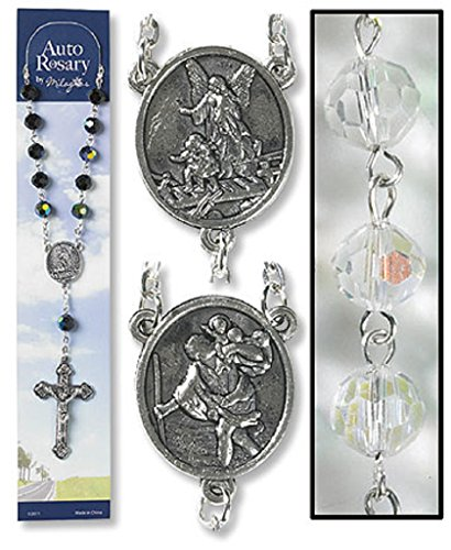 Catholic Saint Christopher Travelers Crystal Auto Rosary for Car Truck (Crystal Auto Rosary compare prices)