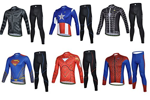 Weelly Summer Hero Men Long Sleeve Cycling Jersey Shirts Pants Iron Man Spiderman Superman Captain America Batman