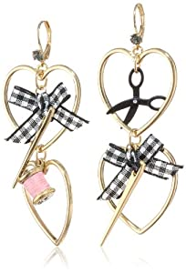 "Betsey Johnson ""Paris is Always a Good Idea"" Heart Needle and Thread Drop Earrings"