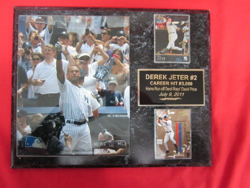 Derek Jeter New York Yankees 2 Card Collector Plaque #2 W/8X10 Rare 3000Th Hit Photo back-268059
