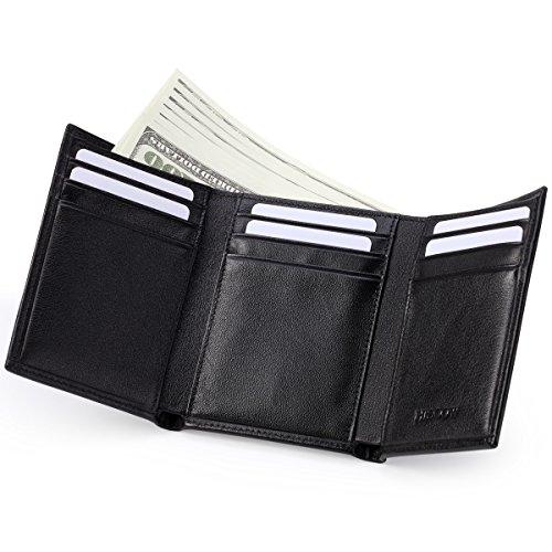 HISCOW, Portafoglio Trifold nero con 9 scomparti per carte di credito, in pelle di vitello italiana