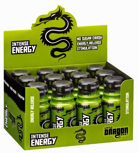 Little Dragon Intense ENERGY Shot (12 x 60ml) - Kiwi & Lime Flavoured Food Supplement with Vitamins & Amino Acids