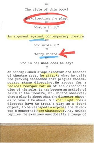 Mis-Directing the Play: An Argument Against Contemporary Theatre, Terry McCabe