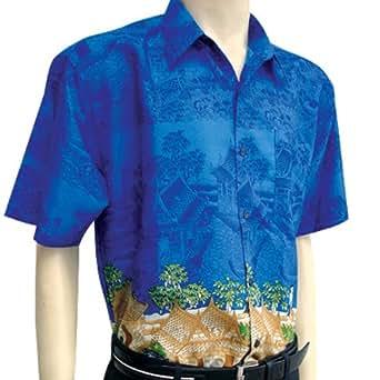 Men 39 s blue short sleeve thai silk hawaiian shirt xl at for Mens silk shirts amazon