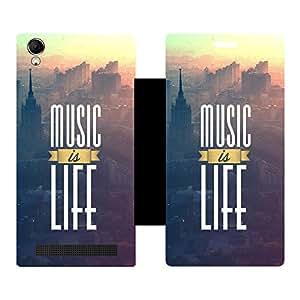 Skintice Designer Flip Cover with Vinyl wrap-around for Intex Aqua Power Plus, Design - Life is Music