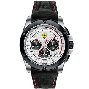 Ferrari 830031 - Reloj analógico de cuarzo para hombre, correa de cuero color negro (cronómetro)