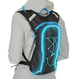 Flashing hydration pack with LED trim and military grade ultra tough 2 liter water bladder - Blue