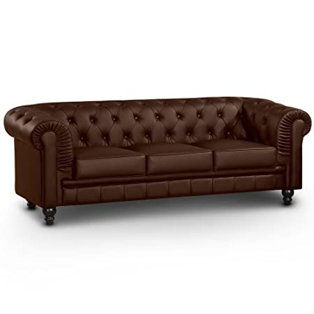 Intense Déco - Canapé Chesterfield 3 Places Regency Marron