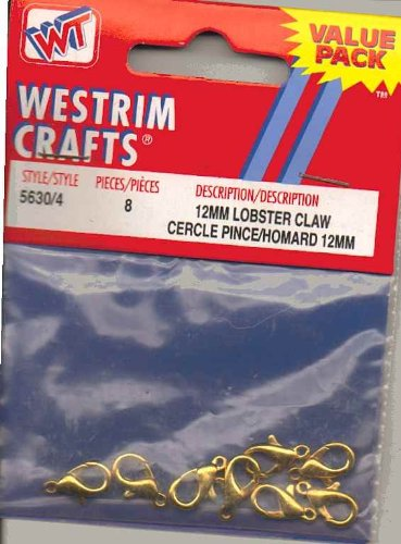 12mm Lobster Claw Gold