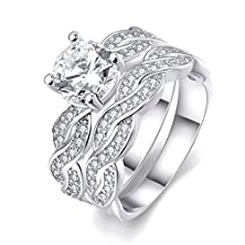 buy [Eternity Love] Women'S Pretty Weave Pattern 18K White Gold Plated Princess Cut Cz Crystal Engagement Rings Set Best Promise Rings For Her Anniversary Infinity Wedding Bands Tivani Collection Jewelry Rings