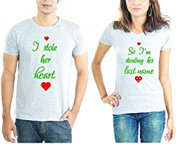 LaCrafters Couple tshirt - New Heart Stealing Couples Tshirt_Grey_XXL - Set of 2