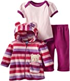 BON BEBE Baby-girls Newborn Beary Cute Micro Fleece 3 Piece Hooded Jacket Set