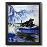 F-15 Military Fighter Jet Aircraft Airplane Aviation Wall Picture Black Framed Art Print