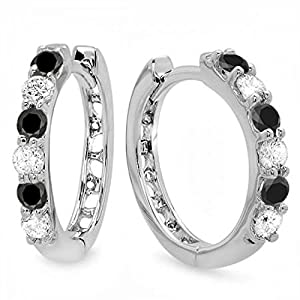 0.33 Carat (ctw) 14k White Gold Round Black & White Diamond Ladies Huggies Hoop Earrings 1/3 CT