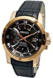 Seiko Premier Kinetic Brown Dial Black Leather Mens Watch SRG016P1