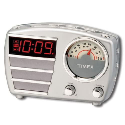 timex retro alarm clock radio t247 silver electronic alarm clocks. Black Bedroom Furniture Sets. Home Design Ideas