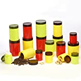 Steelo 18 Pcs PET Container Set - 200ml X 6, 800ml X 6, 1100ml X 6 (Vibgyor)