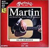 Martin 80/20 Bronze Acoustic Guitar Strings - Light (Pack of 3)