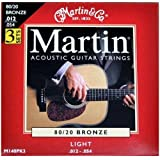 Martin 80/20 Bronze Acoustic Guitar Strings - Light (Pack of 3)by Martin