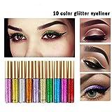 Glitter Liquid Eyeliner 10 Colors Set-Waterproof Sparkle Eyeshadow Long Lasting Metallic Glitter Eyeliner Pen Shimmer Eye Shadow for Parties, Cosplay, Masquerade (Color: Green/Orange/Pink/Purple/Red)