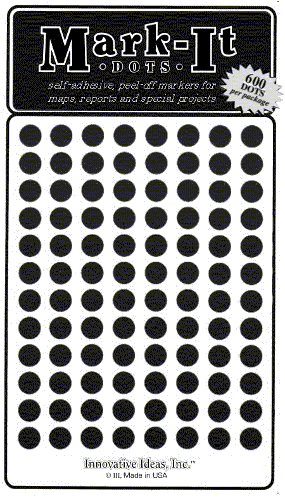 "Map Dot Stickers - 1/4"" Diameter - Black"
