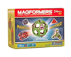 Magformers Magnetic Magic Building Set, Red/Blue, 34-Piece