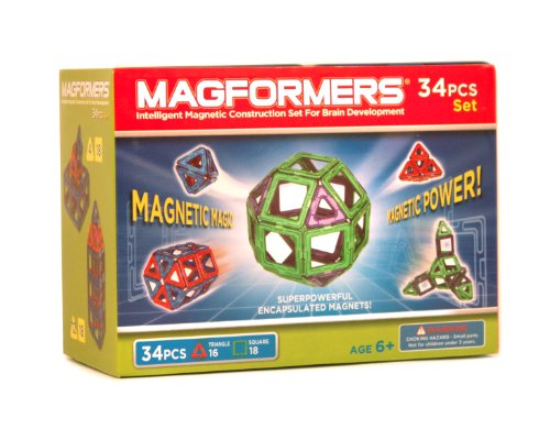 Magformers Magnetic Building Set, Green/Purple, 34-Piece