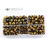 BRCbeads Tiger Eye A Grade Natural Gemstone Loose Beads Round Value Box Set 340pcs Per Box for Jewelry Making (Plastic Container is Included)-4,6,8,10mm (Color: Yellow Tiger Eye, Tamaño: 4mm;6mm;8mm;10mm)