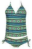 Billie Niñas Ola de calor Tankini swimsuit-aquamarine-7Color: Aguamarina Tamaño: 7(Baby/Babe/Infant-Little Ones)