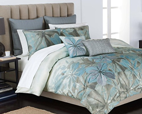 Mendocino 3-Pc Blue Contemporary Floral Comforter Sham Set