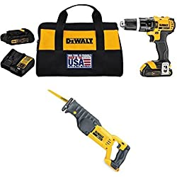 DEWALT DCD785C2 20V MAX Lithium Ion Compact 1.5 Ah Hammer Drill/Driver Kit + DEWALT 20-Volt MAX Li-Ion Saw