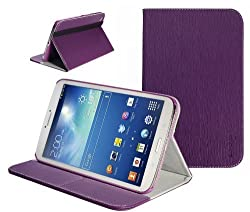 SUPCASE Samsung Galaxy Tab 3 8.0 inch Tablet Slim Hard Shell Leather Case with Auto Wake/Sleep - Purple, Multi-Angle Viewing, Business Card Holder