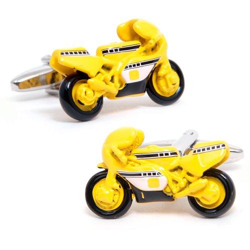 Yellow Moto GP Racing Bike Cufflinks