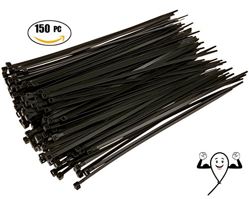 Cable Zip Ties 10 inch Heavy Duty. 150 Piece, Large Pack of Black Nylon Wire Zip Ties by Strong Ties. 50 Pounds Tensile Strength, Indoor Outdoor UV Resistant. (10 Zip Ties compare prices)