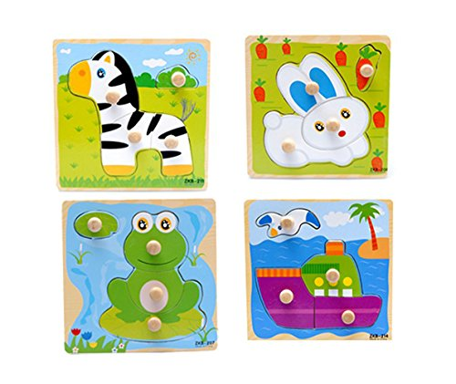 Blackcell 4-Pack Wooden Kids Children Jigsaw Education And Learning Puzzles Toys Fit For 1-3 Years Baby - Non-toxic Paints
