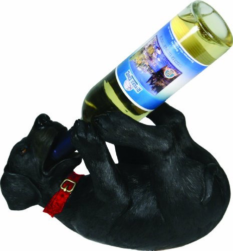 Rivers Edge Hand Painted Poly Resin Black Lab Wine Bottle Holder