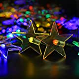 Solar String Lights - BIRUGEAR Decorative Star Solar Powered String Lights 20 LED For Outdoor - Gardens - Lawn - Patio - Wedding - Christmas - Parties - Multi-Color 15 Feet