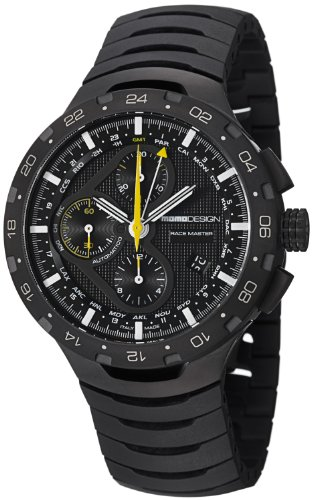 MomoDesign Race Master Chrono Automatic GMT Men's Black PVD Titanium Watch MD100BK-02BKBK-RB