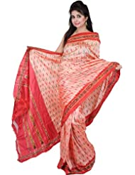 Exotic India Coral-Pink Ikat Sari Hand-Woven In Pochampally - Coral Pink