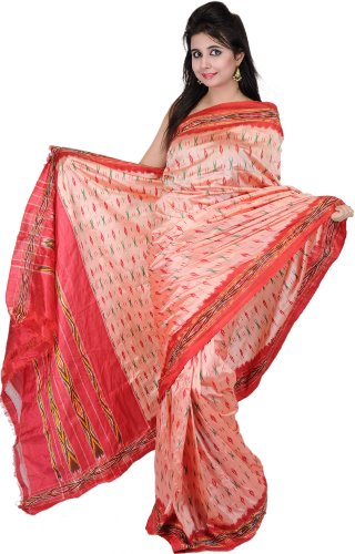 Exotic India Coral-Pink Ikat Saree Hand-Woven in Pochampally - coral pink (multicolor)