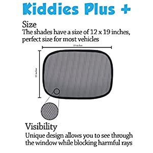 Car Sun Shade - 2 Pack- Blocks Harmful UV Rays with UPF30+ Protection - Static shade Clings on to Window - Full Protection for baby - Ideal Size from Kiddies Plus