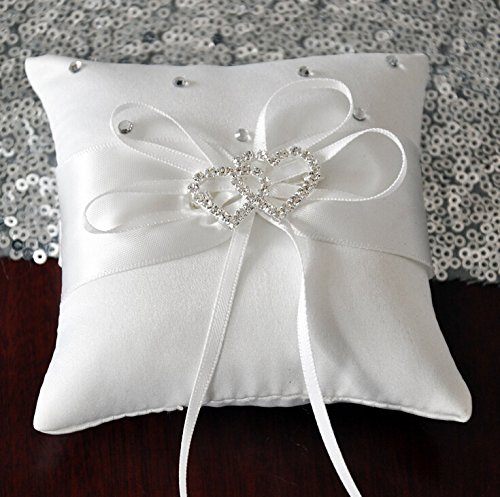 [해외]CheckMineOut 화이트 더블 하트 라인 석 웨딩 링 베개 8 인치 × 8 인치/CheckMineOut White Double Heart Rhinestone Wedding Ring Pillow 8 inch x 8