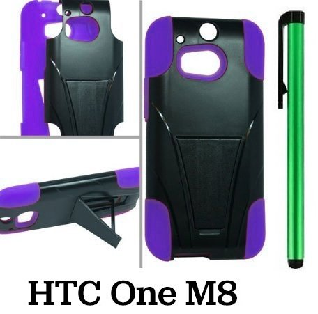 Htc One M8 Premium Pretty T-Stand Design Protector Hard Cover Case (2014 Q1 Released; Carrier: Verizon, At&T, T-Mobile, Sprint) + 1 Of New Assorted Color Metal Stylus Touch Screen Pen (Purple / Black)