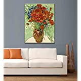 """Tallenge Old Masters Collection - Vase With Daisies And Poppies By Vincent Van Gogh - Large Size Premium Quality Gallery Wrap Canvas Art Print For Home And Office Décor (24""""x32"""")"""