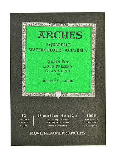 """Arches Watercolor Cold Pressed Paper Pad 9/""""x12/""""-140lb 12 Sheets"""