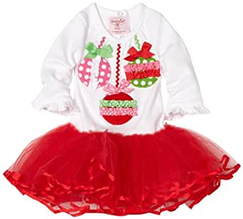 Mud Pie Baby-girls Infant Ornament Tutu Dress, Red/White/Green, 2T-3T