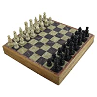 Unique Stone Art Chess Pieces and Board Set Size 10 x 10 Inch
